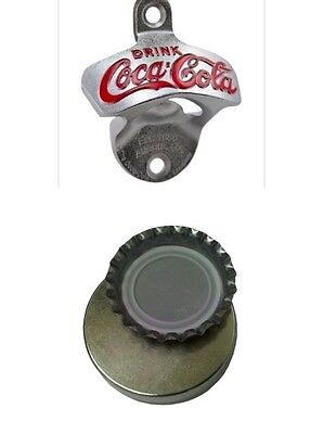 COCA COLA COKE BOTTLE OPENER & MAGNETIC CAP CATCHER BAR Wall Mount Beer Soda NEW