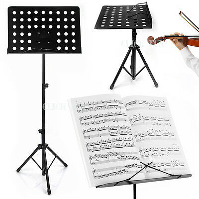 Metal Music Sheet Stand Book Stage School Speech Adjustable Folding Black Large