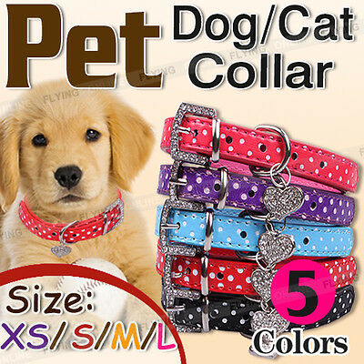 PET Dog Collar Cat Puppy Polka Dot PU Leather Rhinestone 4 SIZES 5 COLORS NEW