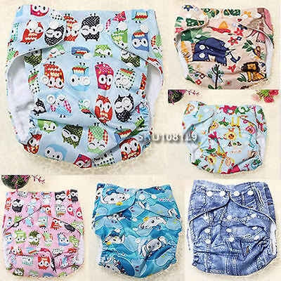Baby Infant Adjustable Animals Print Cloth Washable Leakproof Nappy Diaper Cover