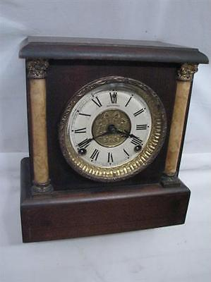 Antique Sessions Shelf/Mantle Chime Clock Bevel Glass Pillar