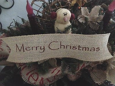 Primitive Merry Christmas Wired Burlap Ribbon Banner Ornament Garland Barn Red