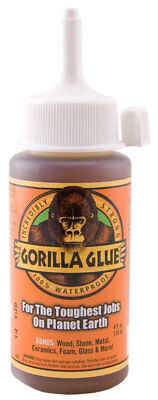 Gorilla Glue 4oz 118mL Waterproof Super Strong Stainable Paintable Solvent Free