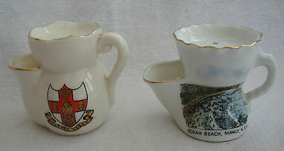 TWO SOUVENIR CRESTED WARE SMALL SHAVING MUGS GEMMA & CARLTON WARE COLLECTABLE