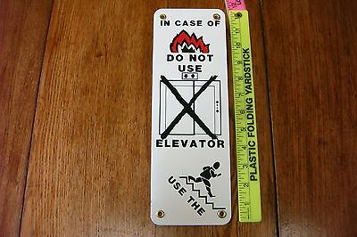 Vintage NOS Metal In Case of Fire Do Not Use Elevator Use Steps GREAT GRAPHICS
