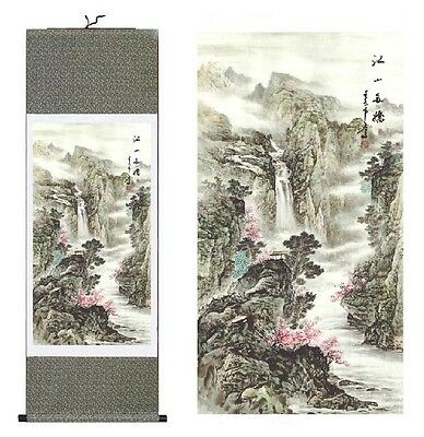 Chinese Silk Scroll Painting Landscape Painting Home Office Decoration 江山多娇国画山水画
