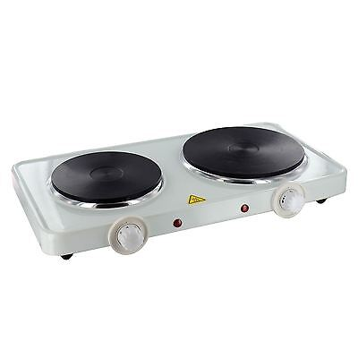 New Double Electric Hotplate Hob Portable Table Top Cooker Camping Caravan Stove