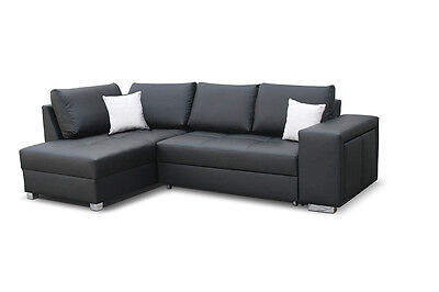 schlafsofa couch mit bettkasten in schwarz oder weiss 3 sitzer kunstleder modern eur 299 95. Black Bedroom Furniture Sets. Home Design Ideas