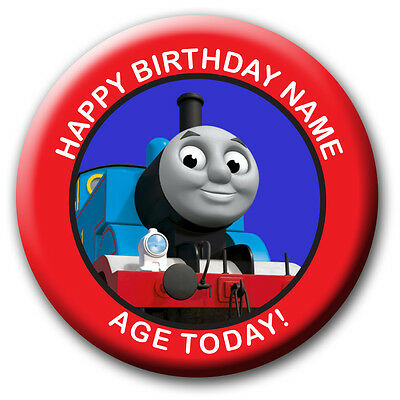 PERSONALISED THOMAS TANK BIRTHDAY BADGES/FRIDGE MAGNETS/MIRRORS - 58MM or 77MM