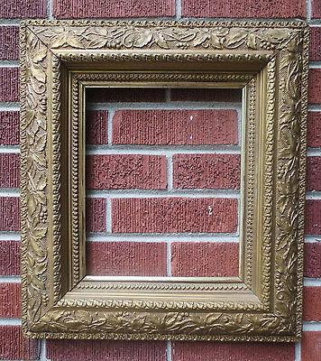 Antique VICTORIAN Aesthetic TREE Leaves Berries Compo Gesso Frame 10 x 12 c1880s