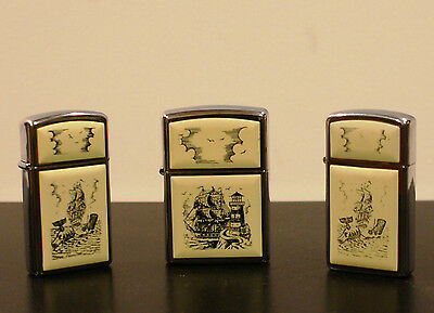 ZIPPO Lighter SCRIMSHAW Clipper Ship WHALE/WHALING Moby Dick Boat (3) Lighters
