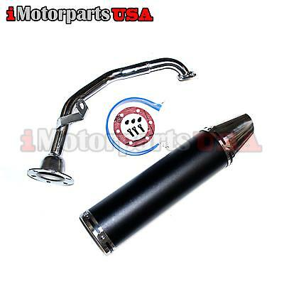 Gy6 125Cc 150Cc Scooter High Performance Exhaust Black Matte Perforated Muffler