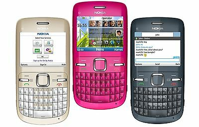 Nokia C Series C3-00 unlocked GSM mobile phone 3 colors with battery and charger