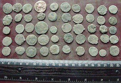 Lot of 50 Authentic Ancient Roman Coins   Mostly 3rd to 5th Centuries A.D. 12406
