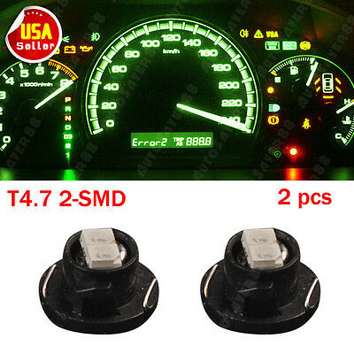 2x Brightest Green T5 /T4.7 Neo Wedge 2 SMD 12mm Dashboard LED Light Bulbs 12V