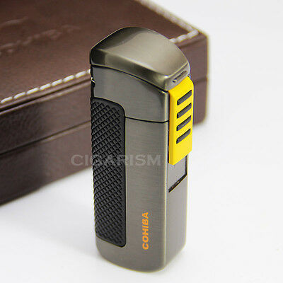 COHIBA Black&Yellow Plastic Wrapped 3 Torch Jet Flame Cigar Cigarette Lighter