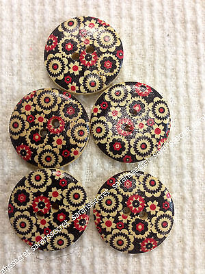 5 x LARGE WOODEN BUTTONS with ANTIQUE LIVERPOOL DESIGN - 30mm  - #B213