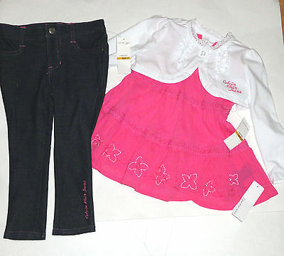 NEW CALVIN KLEIN 3PC GIRLS OUTFIT SET 6-7 YEARS shrug, top jeans SET AUTH
