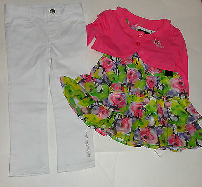 New Calvin Klein 3 Pc Set 2 Years Shrug Jeans Top Girls   Authentic