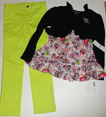 NEW CALVIN KLEIN 3PC GIRLS OUTFIT SET 6 YEARS shrug, top jeans LEGGINGS SET AUTH