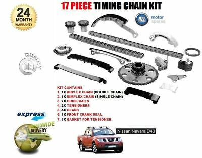 For Nissan Navara 2.5 Diesel D40 2006-2010 Complete 17 Piece Timing Chain Set