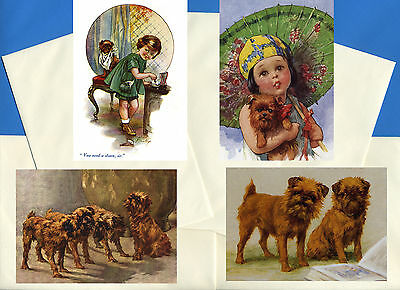 Brussels Griffon Pack Of 4 Vintage Style Dog Print Greetings Note Cards #2