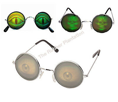 Hologram Fancy Dress Accessory Glasses Specs Poker Novelty Lizard Holographic