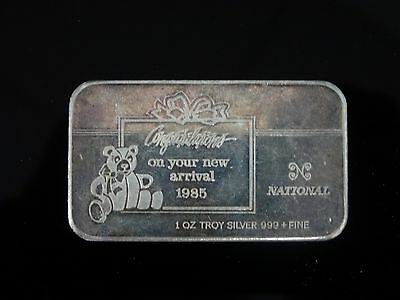 CONGRATULATIONS 1985  1 oz TROY 999 + FINE SILVER BAR   BEAR PIC