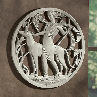1920s Art Deco Antique Replica Diana Goddess of the Hunt Wall Sculpture Frieze