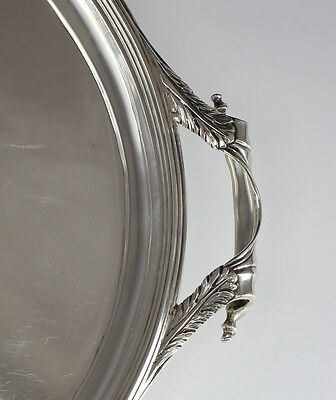 1922 London Art Deco Sterling Silver Footed Oval Tray w/ Handles England 109 oz