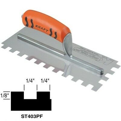 """Kraft Tool Notch Tile Trowel Square Notch 1/4"""" x 1/8"""" x 1/4"""" Made in the USA 199"""