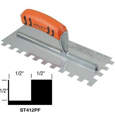 """Kraft Tool Notch Tile Trowel Square Notch 1/2"""" x 1/2"""" x 1/2"""" Made in the USA 199"""