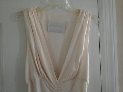 LOVELY monique lhuillier cream silk jersey top sz reads 10 fits like 6 to 8 max