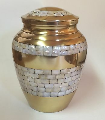 Mother of Pearl Adult  Human Cremation Ashes Urn, Container, Jar,
