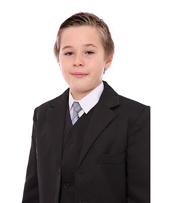 Boys Black formal Tuxedo Suit 5 piece including Dickie Bow 1-15 Years