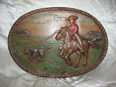 Vtg Western Cowboy Horse Lasso Cow Calf Chalkware Plaster Plaque Wall Hanging