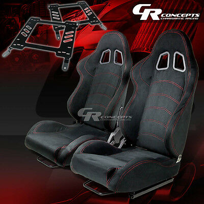 Reclining Type-1 Racing Seat Black Suede X2+Bracket/mount For 00-05 Eclipse 3G