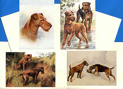 Irish Terrier Pack Of 4 Vintage Style Dog Print Greetings Note Cards #1