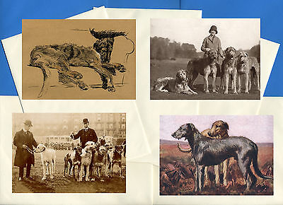 Irish Wolfhound Pack Of 4 Vintage Style Dog Print Greetings Note Cards #2