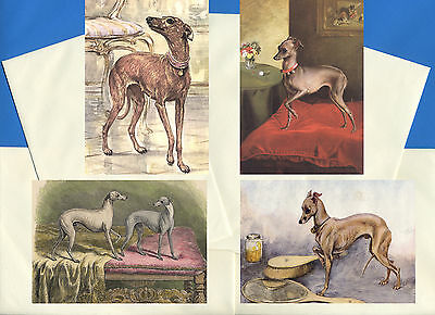 Italian Greyhound Pack Of 4 Vintage Style Dog Print Greetings Note Cards #2