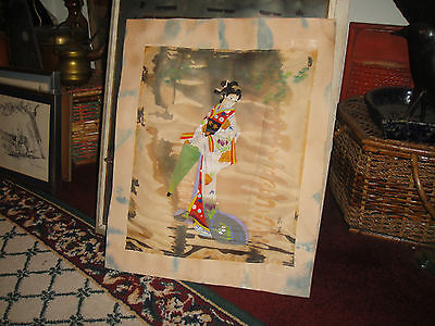 Vintage Japanese Painting On Silk Fabric Of Woman W/Umbrella-Signed & Stamped