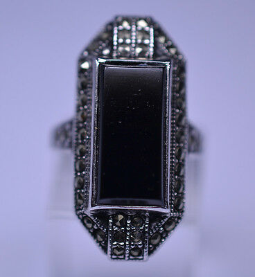 VTG OLD STORE STOCK STERLING SILVER ART DECO STYLE ONYX MARCASITE RING SIZE 5.5