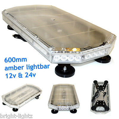 "600Mm 60Cm 24"" Magnetic Led Amber Light Bar Strobe Beacon Recovery Vehicles 56W"