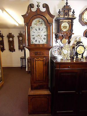 8 Day Painted Dial Longcase Clock in Oak and Mahogany Joshua Farrer Doncaster