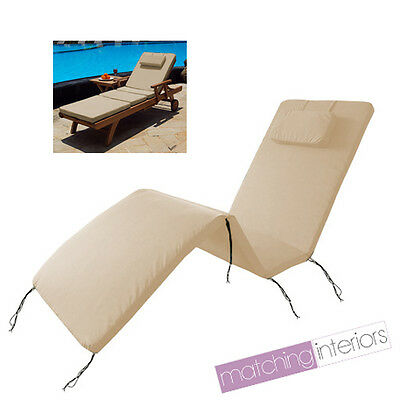 Beige Water Resistant Outdoor Cushion Pad for Garden & Patio Steamer Lounger