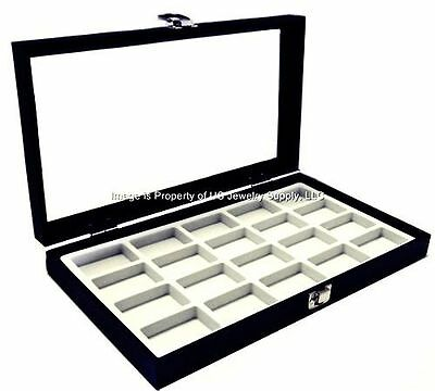 1 Glass Top Lid White 20 Space Display Box Case Jewelry Pins Lures Arrowheads
