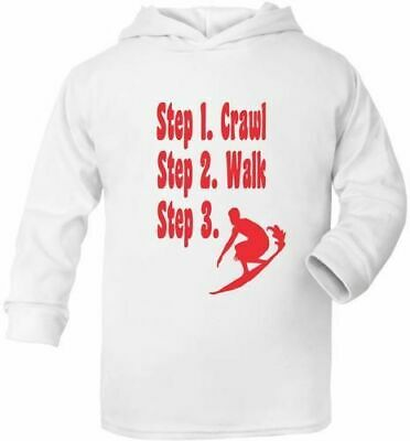Steps To A Surfer Surfing Cute Present Baby New Born Gift  Supersoft Baby Hoodie