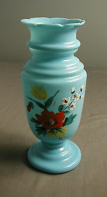 VINTAGE BRISTOL VASE - HAND BLOWN - LIGHT BLUE WITH HAND PAINTED FLOWERS - 7 1/2