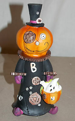 New Collectable Halloween Steampunk Pumpkin Ghost Figure Statue Decoration 6""