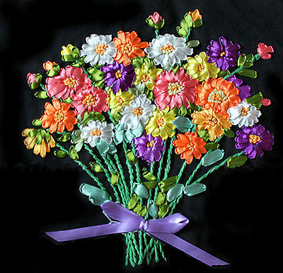 Lovely Beautiful Multicolour Flower Tuzzy-Muzzy 3D Ribbon Embroidery Kit 45*45CM